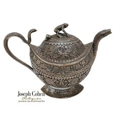 FINE ANTIQUE INDIAN SILVER TEAPOT, KASHMIR, FLORA, SNAKES AND FROG, 19th C. Silver Teapot, Tea Pots, Flora, Snakes, Antiques, Tableware, Joseph, Confidence, Ebay