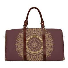 Mandala Gold and Red Waterproof Travel Bag/Large (Model Large Bags, Pouches, Travel Bags, Mandala, Monogram, Michael Kors, Model, Red, Accessories