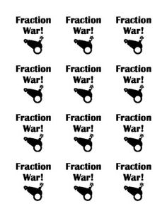 Students play the very popular card game War, but with fractions!  This game is a great way to help students reinforce the difficult skill of compa...