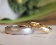 テクスチャをお揃いに:プラチナとゴールドの結婚指輪 [マリッジリング,オーダーメイド,marriage,wedding,ring,bridal,Pt900,K18,Gold,ring,ith]
