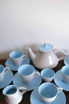 Poole pottery twintone teaset in sky blue and dove grey. Can't believe I'm being given a huge set of this when we move house!