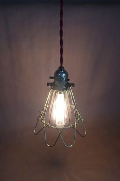 Your place to buy and sell all things handmade Industrial Hanging Lights, Edison Lighting, Cage, Light Bulb, Living Spaces, Glow, Ceiling Lights, Retro, Antiques