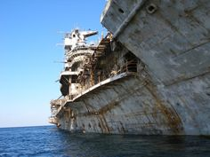 Abandoned aircraft carrier moments before being sunk
