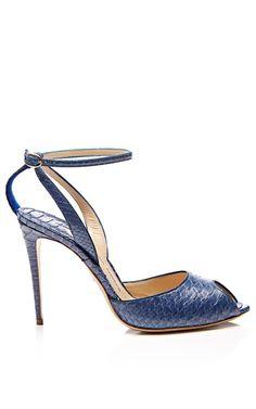 Shop M'O Exclusive: Europeaus Snakeskin Ankle-Strap Stilettos by Paul Andrew Now Available on Moda Operandi