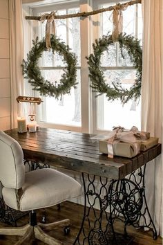 Make these DIY wreaths for FREE without buying a wreath form. Make your own holiday decorations with a few pine tips and hedge branches. This easy craft tutorial will show you how to make these Christmas wreaths and build a rustic window display all wi Christmas On A Budget, Noel Christmas, Xmas, Elegant Christmas, Christmas Branches, Modern Christmas, Christmas Ideas, Christmas Wresths, French Country Christmas