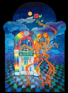 painting by Anita Rodriguez -Skeletons dancing in front of a rainbow jukebox, what's not to love?