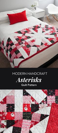 Asterisks Quilt Pattern modernhandcraft.com featuring fabric by Christopher Thompson for Riley Blake Fabrics called Holly holidays. Join in on the Snowalong starting on October 25th!