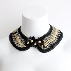 Black and Gold Beaded Francis Collar  by iheartnorwegianwood, $75.00