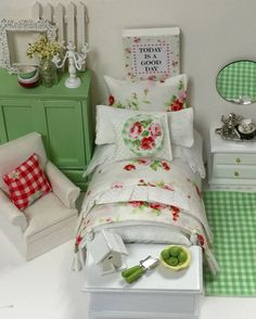 Miniature Dollhouse Twin Bed and Cottage by RibbonwoodCottage