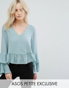 Get this Asos Petite's frills blouse now! Click for more details. Worldwide shipping. ASOS PETITE Blouse with Ruffle Sleeve - Green: Petite top by ASOS PETITE, Lightweight woven fabric, V-neck, Double-layer cuffs, Ruffle trims, Regular fit - true to size, Machine wash, 100% Polyester, Our model wears a UK 8/EU 36/US 4 and is 163cm/5'4 tall. 5�3�/1.60m and under? The London-based design team behind ASOS PETITE take all your fashion faves and cut them down to size. Say goodbye to all your s...