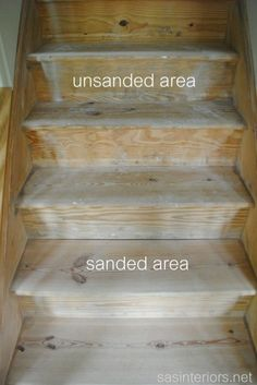 These beautiful wood stairs were once carpeted! You too can take your stairs from ugly carpet to beautiful wood stairs. Redo Stairs, Basement Stairs, House Stairs, Carpet Stairs, Basement Ideas, Wall Carpet, Stair Redo, Stairs Upgrade, Garage Ideas
