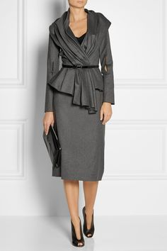 OSCAR DE LA RENTA Wool-blend flannel pencil skirt $990 Look impeccably polished from the office to evening with Oscar de la Renta's pencil skirt. Sharply tailored from lightweight wool-blend flannel, it features a sleek grosgrain waistband. A draped blouse and portfolio clutch will seal a winning look.   Shown here with: Oscar de la Renta jacket, Tibi top, Chloé ring, Burberry Prorsum belt, Gianvito Rossi boots, Marni clutch.