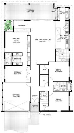 Simple layout, change garage to extra bedroom, retreat to media / to room