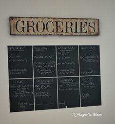 Week at a glance chalkboard wall calendar