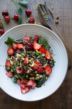 Sonja Dahlgren/Dagmar's Kitchen: black quinoa summer salad with baby kale, haloumi, red berries and watermelon.