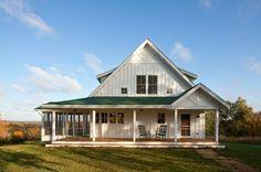 Unique Farmhouse for Mid-Size Family w/ Porch (HQ Plans & Pictures) | Metal Building Homes
