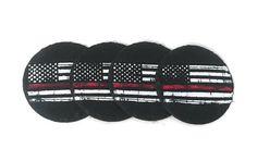 Fireman Gift.  Thin Red Line Slate Coaster Set.  Red Line Home