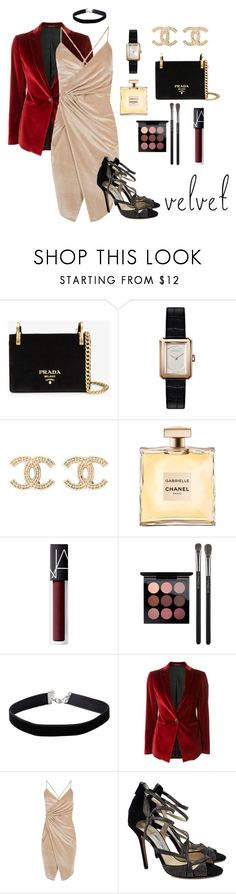 """Velour"" by scribb-1 ❤ liked on Polyvore featuring Prada, Chanel, NARS Cosmetics, MAC Cosmetics, Miss Selfridge, Tagliatore, Boohoo and Jimmy Choo"
