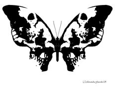 Inkblot art is an example of reversible figure-ground patterns (known in painting and photography as positive and negative space). this can look like a butterfly or two skulls to people. http://alexndhearted.deviantart.com/art/Inkblot-Butterfly-146889435