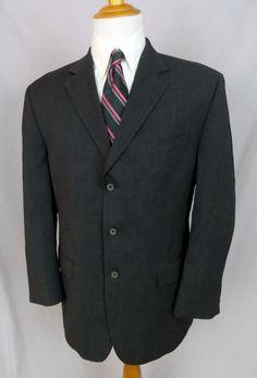 Michael Kors Blazer 42R Gray Wool Three Button Double Vented Sport Coat Jacket #MichaelKors #ThreeButton
