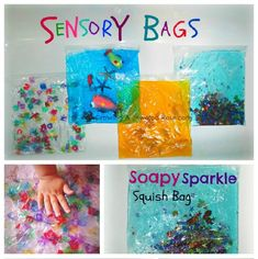 Sensory bags made with hair gel from the dollar tree.  Lots of ideas in this post.