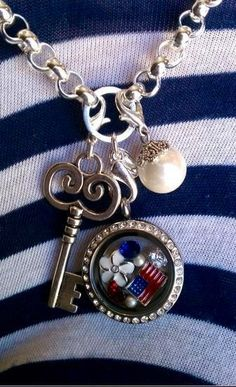 Origami Owl: Red, White, and Blue <3 https://www.facebook.com/Kathiorigami