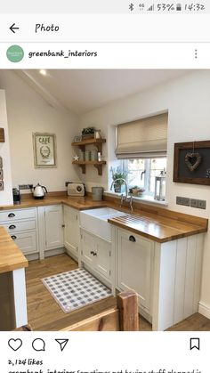I get asked, almost daily, what we treat our oak worktops with! It's called Fi… I get asked, almost daily, what we treat our oak worktops with! It's called Fiddes Hard Wax Oil and there is a story… Best Kitchen Sinks, New Kitchen, Cool Kitchens, Kitchen Dining, Kitchen Decor, Kitchen Cabinets, White Cabinets, Awesome Kitchen, Kitchen Shelves