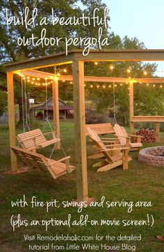 Build an outdoor pergola around a firepit, including swings, a serving area, and a movie screen - DIY tutorial from Little White House Blog on /Remodelaholic/