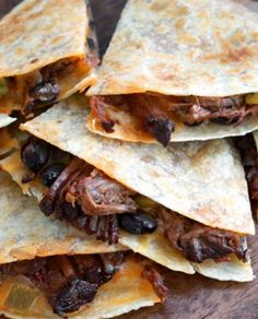Slow Cooker Beef Chuck Roast Quesadillas Recipe - The slow cooker does all the heavy lifting with this recipe. Prepare the beef chuck roast then let - Chuck Roast Recipes, Beef Chuck Roast, Meat Recipes, Mexican Food Recipes, Cooking Recipes, Recipes With Beef Chuck, Roast Beef Tacos, Cooking Ideas, Food Ideas
