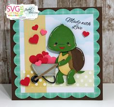 Hi everyone...check out this cutie patootie that Cindy made using SVG Cutting Files Turtle Wheelbarrow and card sketch 28. Both svgs are available in the SVG Cutting Files store. #svgcuttingfiles #svg #svgfiles #cardmaking #papercrafts #diycrafts #valentinesdaycards #turtlewheelbarrow #cardsketch