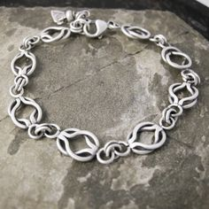 Sterling Silver Double Link Chain Bracelet.