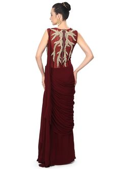 Wine saree gown adorn in rushing only on Kalki