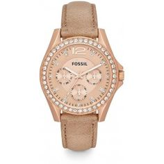4e51fa8f9fe5 Fossil Riley Rose Gold-Tone Tan Leather Ladies Watch ES3363 Cheap Rose Gold  Watch