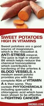 Sweet potatoes are high in vitamins and are a good source of magnesium, which is the relaxation anti-stress mineral. The juice is high in vitamin which helps reduce the chemical homocysteine which contributes to hardening of the arteries blood vessels. Health And Nutrition, Health And Wellness, Health Facts, Potato Nutrition, Health Quotes, Health Care, Natural Cures, Natural Health, Healthy Tips
