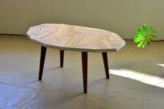 Modern hand made reclaimed wood coffee table with walnut