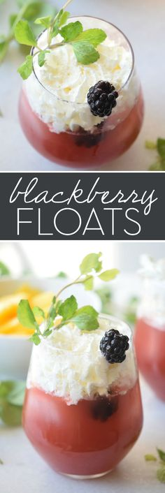 Delicious Blackberry Floats Perfect for Summer Whip up these Blackberry Floats as a delicious fruity twist on a classic dessert. Crisp cool and a perfect refreshing summertime treat! Sangria Recipes, Smoothie Recipes, Drink Recipes, Sweets Recipes, Cocktail Recipes, Yummy Drinks, Fancy Drinks, Easy Cocktails, Cold Drinks