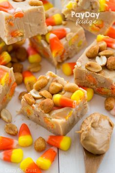 Payday Fudge. Easy peanut butter fudge is filled with peanuts and candy corn, making it taste like a PayDay candy bar! With only 6 ingredients, this easy fudge comes together in under 15 minutes.