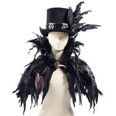 Halloween Feather Cape - Halloween Decorations and Decor - Traditional - Holiday Decorations - Grandin Road Voodoo Costume, Raven Costume, Witch Costumes, Voodoo Priestess Costume, Bird Costume, Gothic Tops, Witches Night Out, Feather Cape, Chesire Cat