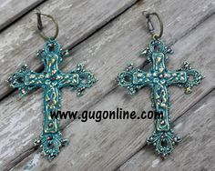 Get 10% off by using the discount code GUGREPKCAR at www.gugonline.com! AB Crystals on Turquoise Cross Earrings