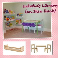 My very 1st IKEA hack.   - Ikea's Latt kids' table set - Ikea's Bygel bar  - Ikea pastic containers to store crayons - Ikea's spice racks used as bookshelves.