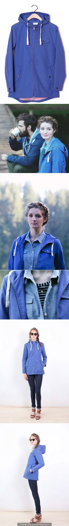 Warbler hooded zip-up jacket in Blue - by Bridge & Burn of Portland, OR. Made of a water resistant cotton/poly blend. Fall will be here sooner than you think; why not look natty even when you're soaked? #nattygal #bridgeandburn #spon