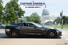 """Are you waiting the premiere of Captain America: The Winter Soldier""""? Well if you will be in Chicago you can stop by the Chicago Auto Show and check out the black Corvette Stingray driven by S.'s Black Widow in the sequel to Captain America. Chevrolet Corvette Stingray, Black Corvette, Chevy Chevrolet, Winter Soldier Trailer, Winter Soldier Movie, Captain America 2, Bucky Barnes, Studios, Chicago Auto Show"""