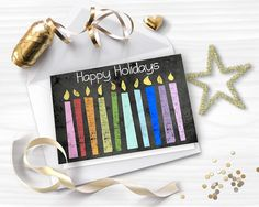 Printable Christmas Card HAPPY HOLIDAYS card Chalkboard greeting card Colorful rainbow candles DIY card Instant download GC025 by StudioDprint