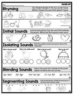 Phonemic Awareness Assessment FREEBIE Phonemic Awareness Kindergarten, Kindergarten Assessment, Phonemic Awareness Activities, Kindergarten Language Arts, Phonological Awareness, Formative Assessment, Kindergarten Literacy, Early Literacy, Phonics Reading