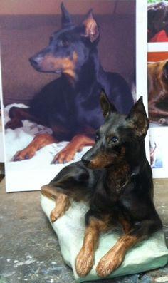 YOUR Doberman Sculpted CUSTOM Doberman Pinscher Custom Dog Portrait Sculptures, or Custom Min Pin Sculptures on Etsy, $250.00