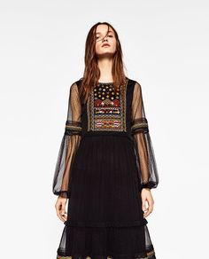 ZARA - WOMAN - PLUMETIS EMBROIDERED DRESS