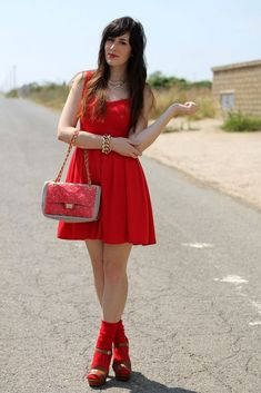 Red dress, socks and hand bag, open-toed shoes Cute Girl Dresses, Cute Outfits, Heels Outfits, Transgender Model, Lace Socks, Dress Socks, Socks And Heels, Girl Fashion, Womens Fashion