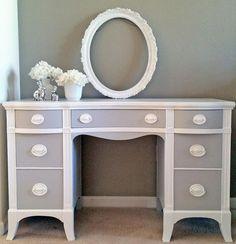 Seagull Gray and Snow White Desk | General Finishes Design Center