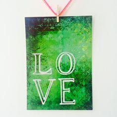 Liebevoll von mir gestaltete farbenfrohe gute Laune Postkarte in Grüntönen.   Maße: DIN A 6 (14,8 cm x 10,4 cm). Gedruckt auf 0,4 mm starkem Postkartenkarton (260g-Papier)