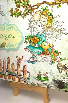 "Emily trifft Spring Scene Collection - beides von Whimsy Stamps. Thinlits von Sizzix ""Ornate Labels, coloriert mit TwinklingsH2O."